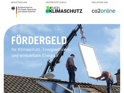 """Menu: Broschüre von co2online """"Fördergeld für Klimaschutz, Energieeffizienz und erneuerbare Energien"""""""